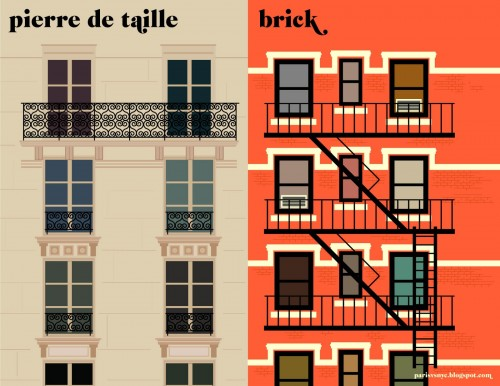 Fachada típica de edificio, Paris vs New York
