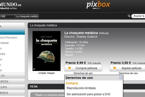 """Ficha de la película """"La chaqueta metálica"""" en pixbox, compra por 9,99€ y alquiler por 3€"""