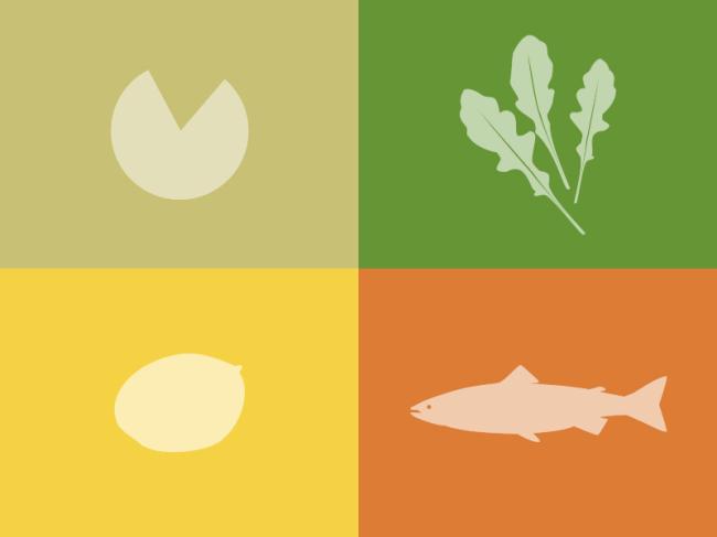 Parmesano, rúcula, mango y salmón