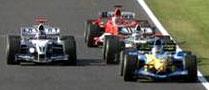 Barrichello, Montoya, Villenueve y Raikkonen muy juntitos en Suzuka